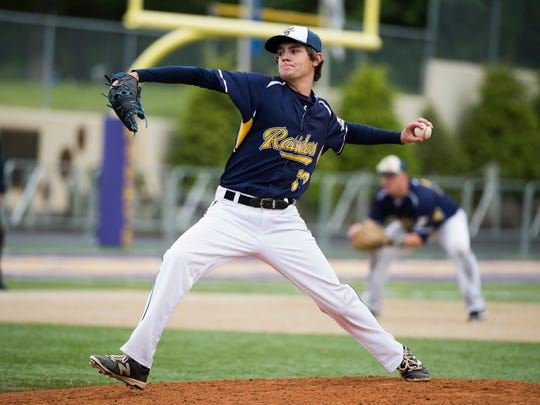 Elco's Cole Blatt delivers a pitch against Solanco during the Raiders' loss in the L-L tournament semifinals. This spring, Elco made its first league playoff appearance since 2007.