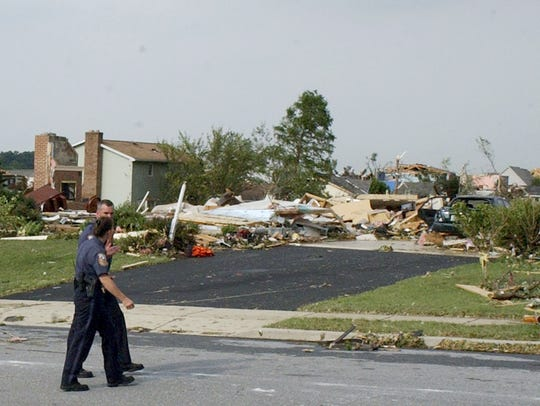 Jerry and Jody Lenington's home after a tornado tore