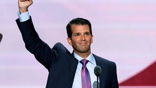 Donald Trump, Jr., son of Republican Presidential Candidate Donald Trump, during the second day of the Republican National Convention in Cleveland. The son of Republican presidential nominee will visit with students and supporters at the Brick Street Bar on the Miami University campus Monday.