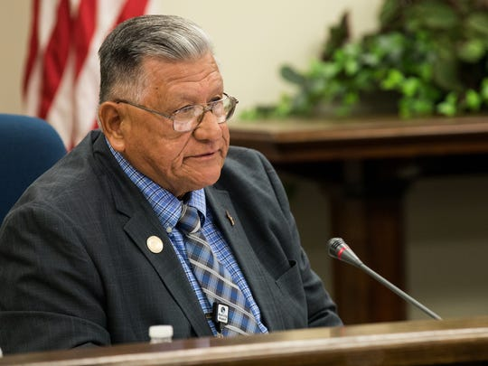 Commissioners Joe A. Gonzalez voices his disapproval after County Judge Loyd Neal's decision tabled an agenda item to discuss and consider adopting a resolution in opposition to Senate Bill during Nueces County Commissioners Court meeting on Wednesday, Aug. 9, 2017.