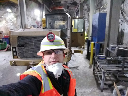 Pedram Roghanchi takes a selfie of himself as he collects data at a mine in Nevada.