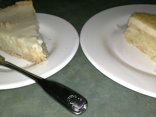 Sebastian Golf Restaurant's key lime pie (left) and a slice of Natalie's orange cake.
