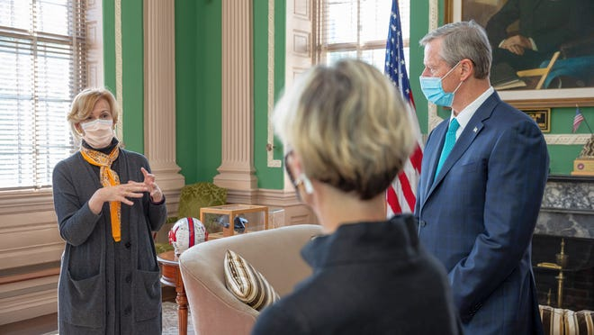 White House COVID-19 czar Dr. Deborah Birx speaks with Gov. Charlie Baker and state Secretary of Health of Human Services Marylou Sudders on Friday at the State House.
