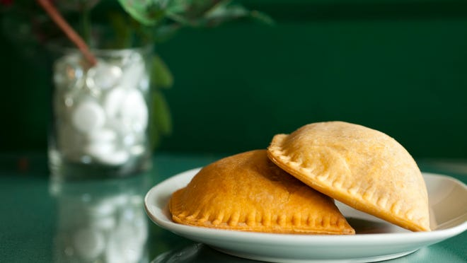 Empanada-like pastries are a favorite comfort food at Little Negril Jamaican Restaurant. These are stuffed with chicken, vegetables or beef and are baked to order.