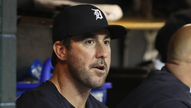 Detroit Tigers Justin Verlander watches action against the Seattle Mariners Wednesday, April 26, 2017 at Comerica Park in Detroit.
