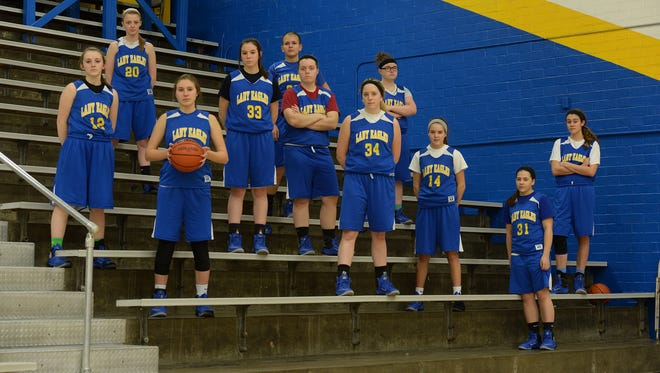 The sectional champion Lincoln High School Lady Eagles Tuesday, Feb. 9, 2016, in Cambridge City.