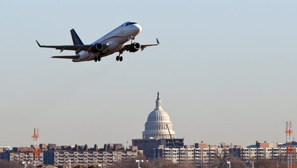 A Republic Airways jet takes off from Washington's
