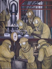 """A detail from the north wall of Diego Rivera's """"Detroit"""