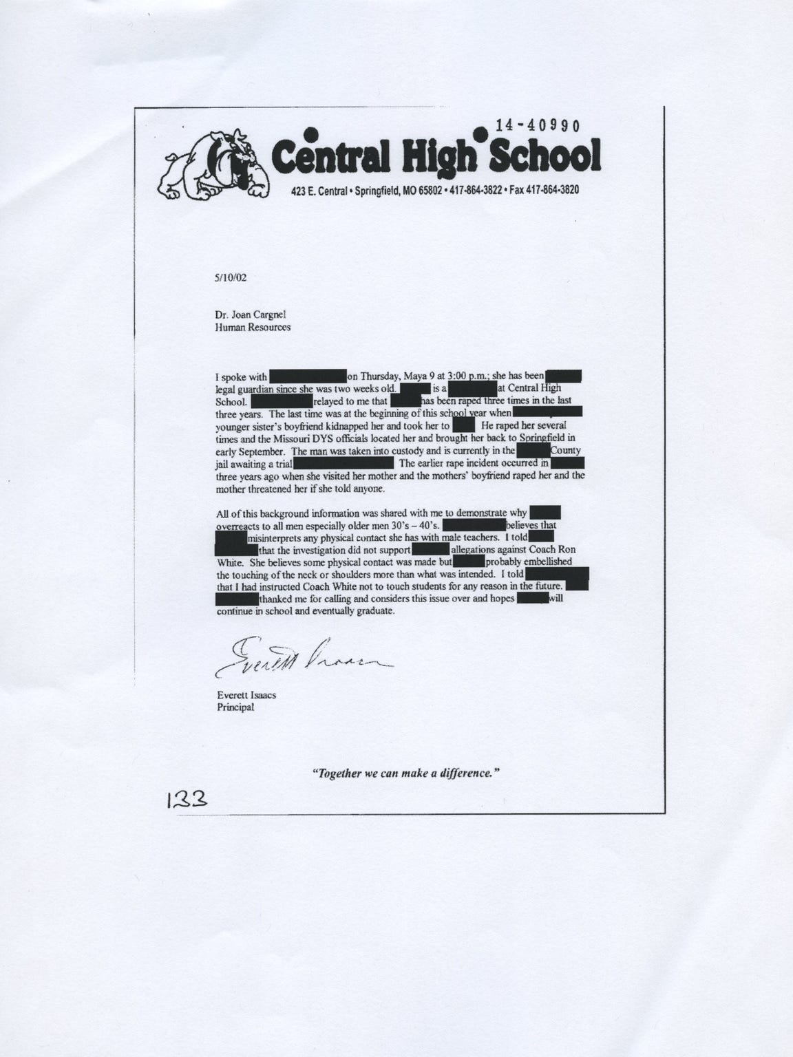 A document in the Ronnie White case turned over by