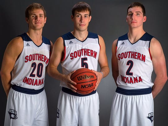 Reitz High School graduates Alex Stein (20), Nate Hansen (5) and Jacob Norman (2) have reunited at the University of Southern Indiana.