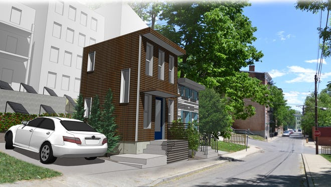 An artist's rendering of what the two tiny houses will look like on Republic Street in Over-the-Rhine.