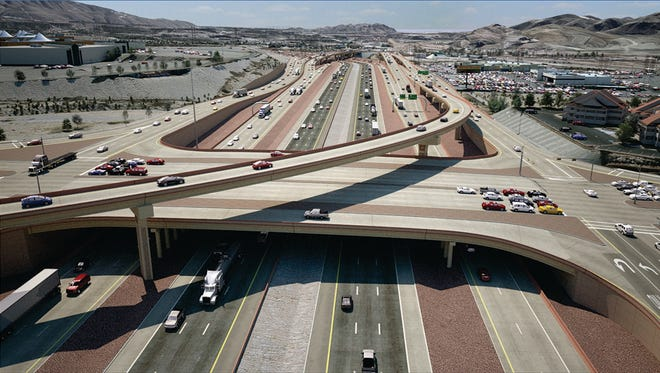 An artist's rendering of Interstate 10 at Sunland Park Drive shows the new collector-distributor lanes. The project should be largely completed by this time next year, but more road closures are planned before then.