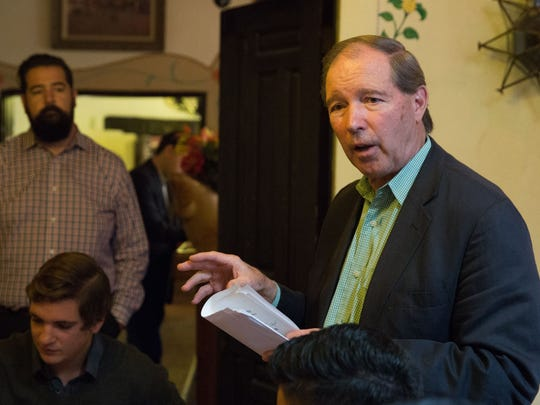 Sen. Tom Udall,, speaks at La Posta de Mesilla, Tuesday,  November 1, 2016. After a short introduction speech Sen. Udall, asked the group for questions and wanted to hear the concerns of New Mexicans in this young professional community. The attendees brought up a many topics, ranging from where the senator saw private sector  manufacturing job growth heading  in New Mexico,  along with growth in the technologies sectors and asking if their would be more training events for colonia residents.