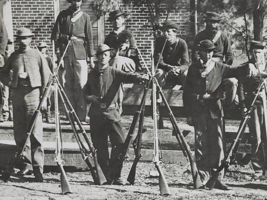 This April 1865 image provided by the Library of Congress shows Federal troops standing in front of the Appomattox Court House near the time of Confederate Gen. Robert E. Lee's surrender to Union Lt. Gen. Ulysses S. Grant, in Appomattox, Va.