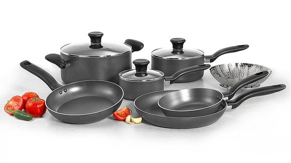 Replace your old, scratched-up pots and pans—this nonstick set is only $40 right now