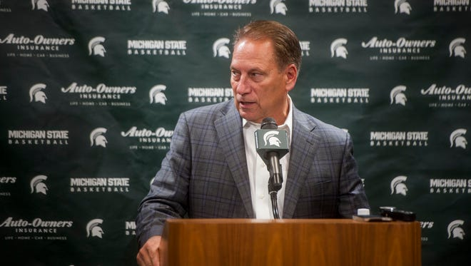 Michigan State men's basketball coach Tom Izzo speaks at media day at the Breslin Center in East Lansing on Thursday, Oct. 20, 2016.