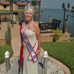 Joyce Reilly Clautice, a former Ms. Senior America, wearing the gown that once belonged to her mother, and that she wore at the pageant in 1999.