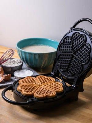 Heart-shaped waffle maker from Cucina Pro.