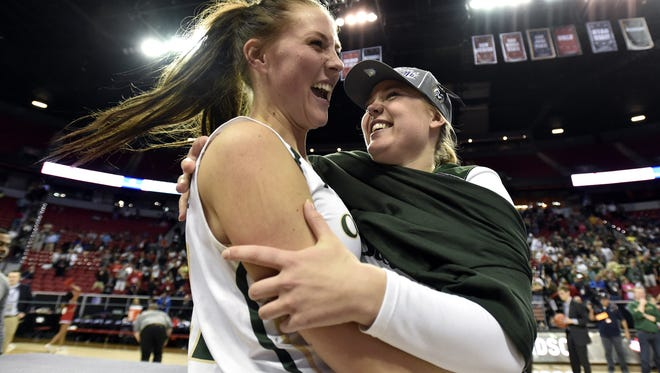 CSU's Elin Gustavsson, left, and Sofie Tryggedsson celebrate winning the Mountain West title last year. The Rams are receiving votes in the top 25 poll at the start of this season.