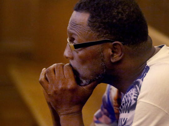 Terry McKay, family member of shooting victim Jessie Buford listens in court during Lammoris Jones' preliminary hearing, in the shooting death of Jessie Buford, on Tuesday, June 14, 2017, in Murfreesboro, Tenn.