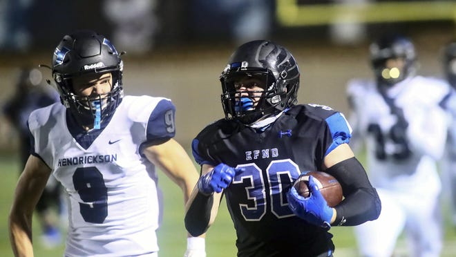 Running back Nate Denney, a Yale signee, has been a star since the move-in from Oregon got approval to play from the UIL four games ago, rushing for 807 yards and 10 TDs on 66 carries. He'll be among an impressive set of RBs in Friday's game against Pflugerville.