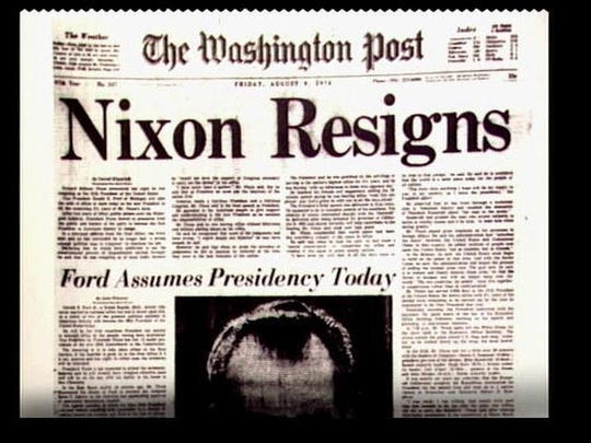 August 8, 1974: President Richard Nixon resigns from his post.
