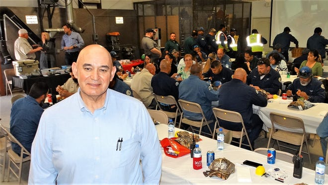 Gas Distribution and Construction Administrator, Lucio M. Garcia, P.E. speaks at the Gas Utility Workers luncheon at LCU.