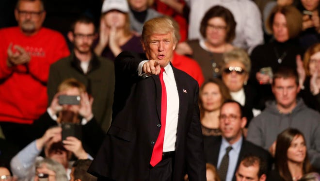 """President-elect Donald Trump spoke to thousands of supporters during his """"Thank You"""" tour stop in Des Moines on Thursday, Dec. 8, 2016."""