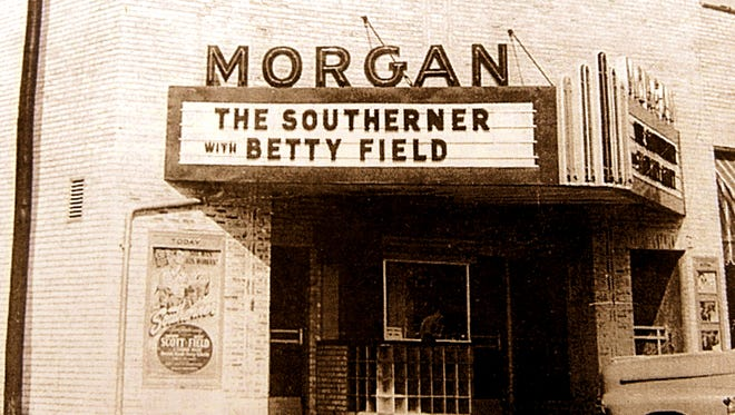 The Morgan Theater on the southwest corner of the Mountain Home square, where the plaza is located now.