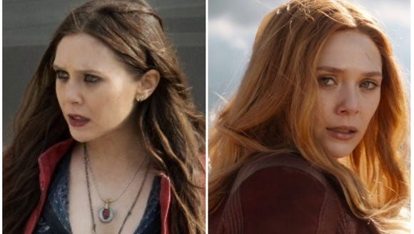"Left: Scarlet Witch in 2015's ""Avengers: Age of Ultron."""