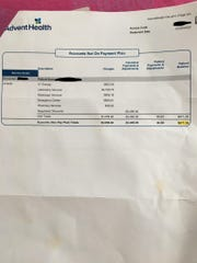 The initial bill a 23-year-old DeLand woman received from AdventHealth DeLand after going for a coronavirus test.