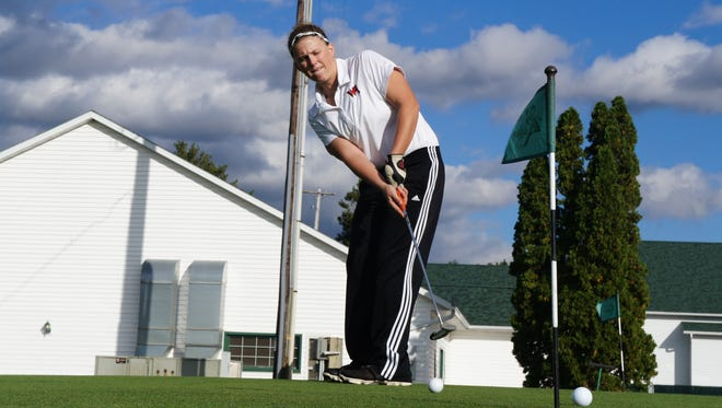 Wisconsin Rapids senior Cierra Botcher practices her putting in preparation for the WIAA state golf meet which will run on Monday and Tuesday at University Ridge Golf Course.