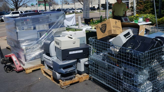Servers and other computer components are collected by iPoint as part of its annual Flowers for Towers recycling campaign.