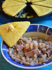 A slow cooker transforms ham and soup beans into an