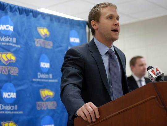 University of Wisconsin-Stevens Point Kent Dernbach has been named interim head coach for the rest of the 2016-2017 season following an impromptu closed-door press conference at the Heath Enhancement Center on the University of Wisconsin Stevens Point campus, January 5, 2017.