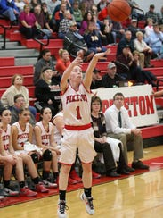 Piketon's Avery Reuter hits a 3-point field goal in the second half of a contest against Waverly at Piketon High School last season.