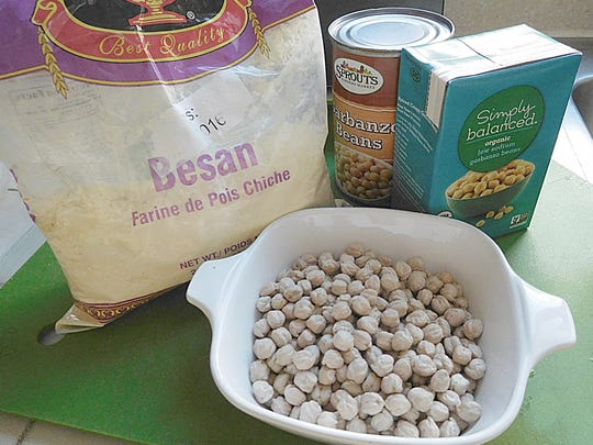 Chickpea flour, (also called besan),  canned chickpeas and dried chickpeas.