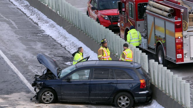 Goldens Bridge firefighters work at the scene of a van accident that closed two lanes of Interstate 684 at Route 138 in Goldens Bridge Sunday morning. Three people were injured, and one remained at Westchester Medical Center in Valhalla on Sunday night.