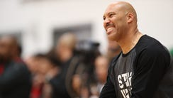 LaVar Ball coaches during the Big Ballers vs. Compton