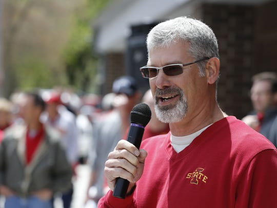 Iowa State football head coach Paul Rhoads speaks to fans during the first stop of the 2014 Cyclone Tailgate Tour earlier this summer in Paton.
