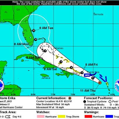 Tropical Storm Erika track for Thursday, Aug. 27, 2015