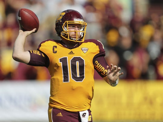 QB Cooper Rush. From: Lansing Catholic. College: Central Michigan. Projected rounds: 6-7. Some draft boards list him among the top-15 QBs in the draft after he finished as the MAC's second all-time leading passer with 12,891 career yards. He had 90 TDs and 55 INTs. ESPN projects Rush will be taken by the Minnesota Vikings in the later rounds.
