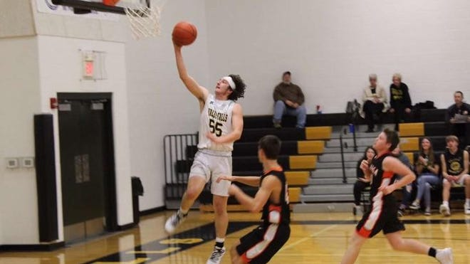 Avery Gatzemeyer (55) helped Valley Falls to a 15-8 record last season, including an 11-5 Northeast Kansas League mark. The Dragons will be one of the top teams in the league and Class 1A Division I this season.