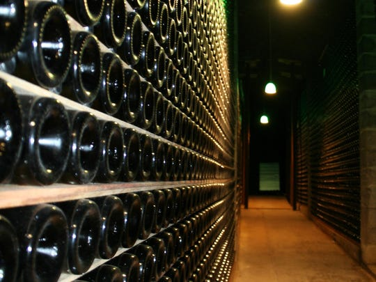 The caves at Schramsberg Vineyards in the northern Napa Valley can hold up to 3 million bottles of wine that age two to 10 years before release. The winery dates to 1862; Chinese laborers dug the caves beginning in the 1870s.