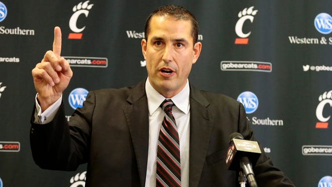 Dec. 10, 2016: New Bearcats head football coach Luke Fickell speaks during a press conference in the Lindner Center on UC's campus in Cincinnati on Saturday. Fickell comes to UC from a defensive coordinator position at The Ohio State University.