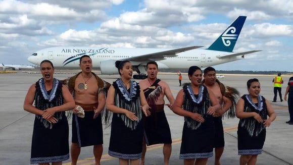A kapa haka dance group made up of Air New Zealand