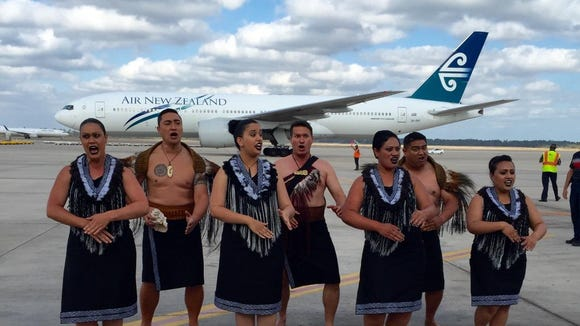 A kapa haka dance group made up of Air New Zealand