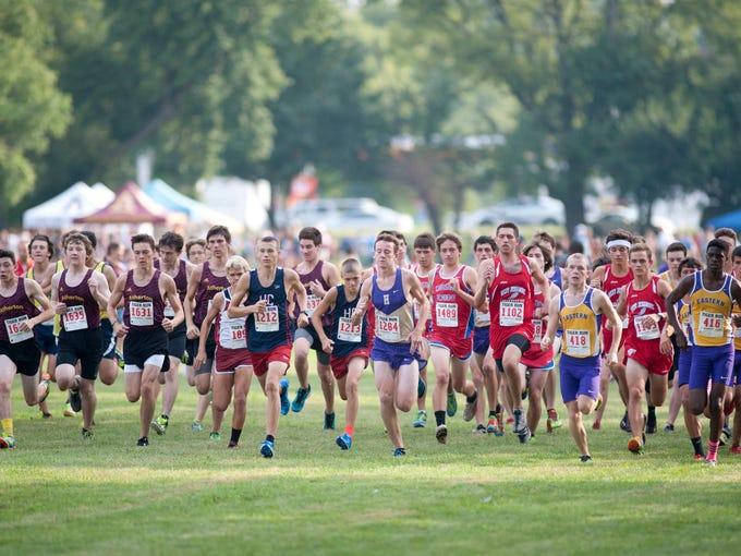 The start of the St. X Tiger Varsity High School Boys' 5K Run. 30 August 2014