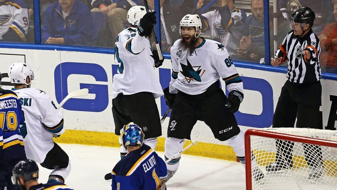 The San Jose Sharks lead the NHL this postseason with 15 power play goals and a 30 percent success rate. Brent Burns, right, scored both of the Sharks' power play goals in Game 2.