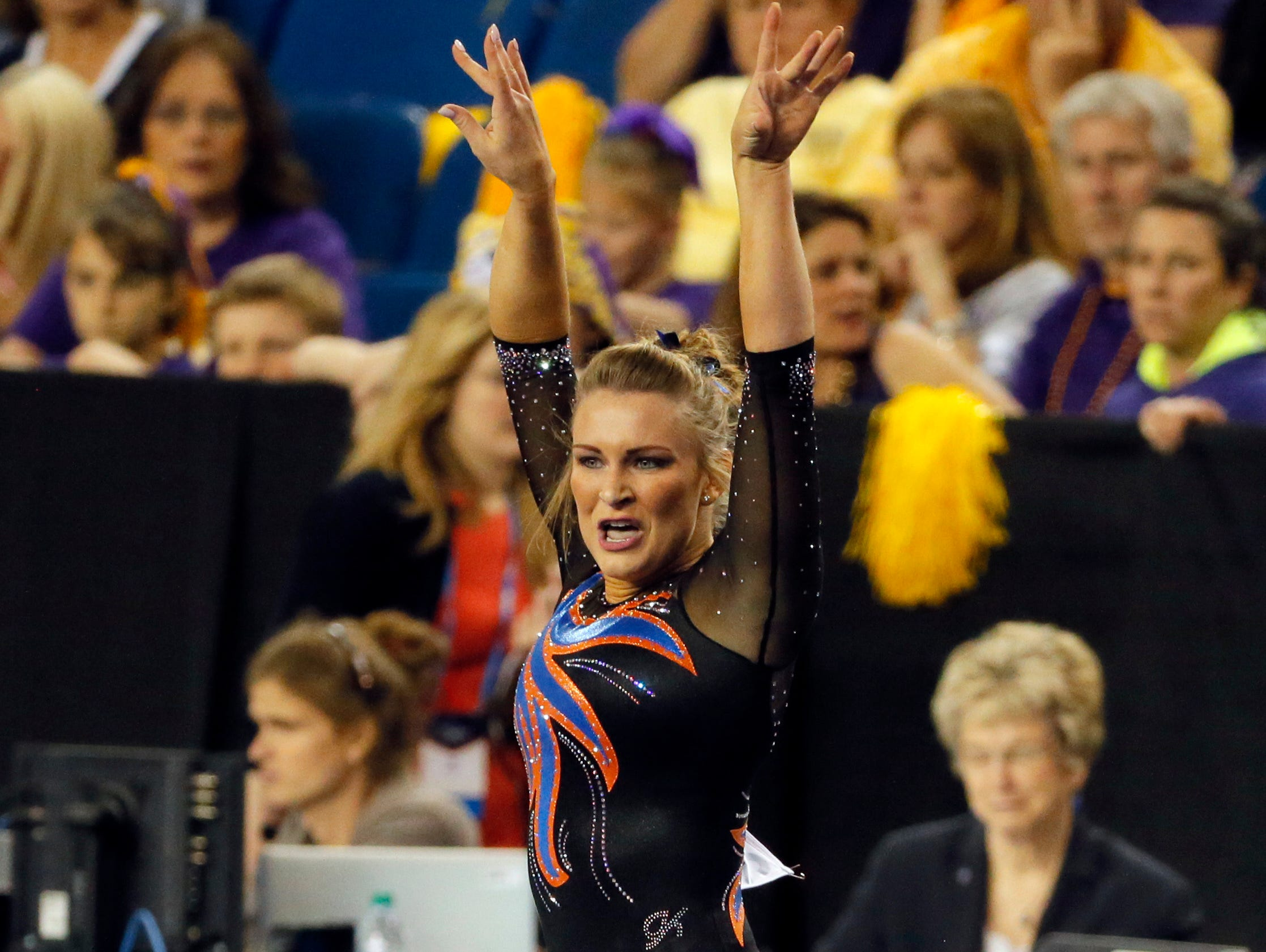 Bridget Sloan competes in the floor exercise during the NCAA women's gymnastics championships, Friday, April 15, 2016, in Fort Worth, Texas.